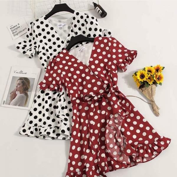 New Vintage Summer Ladies Casual Chiffon A-line Dot Half Flare Sleeves Drawstring Bowknot Dress Women Leisure Ruffles Dress