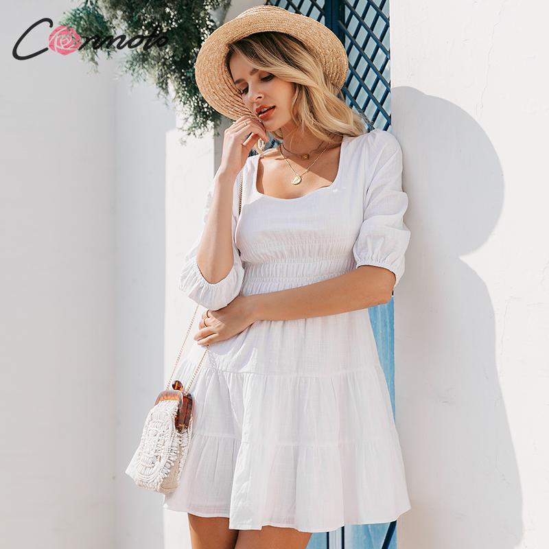 Conmoto Women Vintage Square Collar White Short Dress Casual High Waist Beach Holiday Mini Dress Ladies Lantern Sleeve Vestidos 2