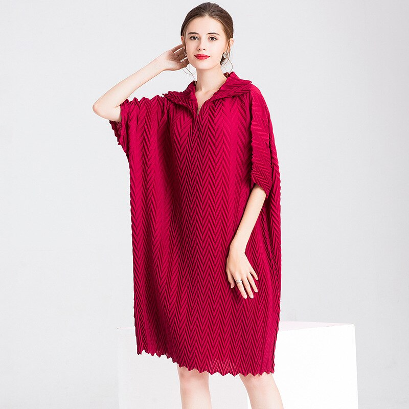 Women Crinkled Office Lady Straight Solid Half Length Sleeves Knee-length Pleated Dress