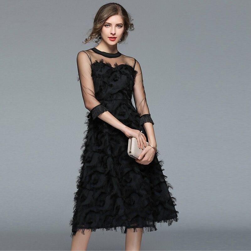 18 Autumn woman black Tassel Mesh Patchwork long dress female Sexy half Sleeve feather dress party Club lady dresses 3