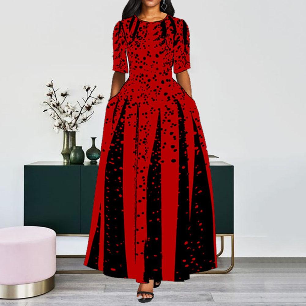Women 19 Elegant Lady Party Dinner Midi Robe High Waist Bandage Print African Christmas Dress Vestiods Half Sleeve Dress 2