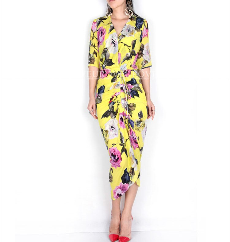 Guesod 18 Summer Women Dress Silk Rose Medium Length Silk V-Neck Folds Slim Lemon Yellow Half Sleeve Bud Silk Dress 1