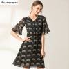 Flowrs Print Dress 19 New Fashion Women High Street A-Line Dresses Flare Half Sleeve Mini Autumn Dress Vestidos Plus Size