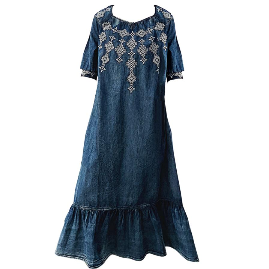 Women's Denim Dress 19 Vintage Big Loose Dress Female Ruffles Hem Woman Dresses O-Neck Half Sleeve A-line Embroidery dress