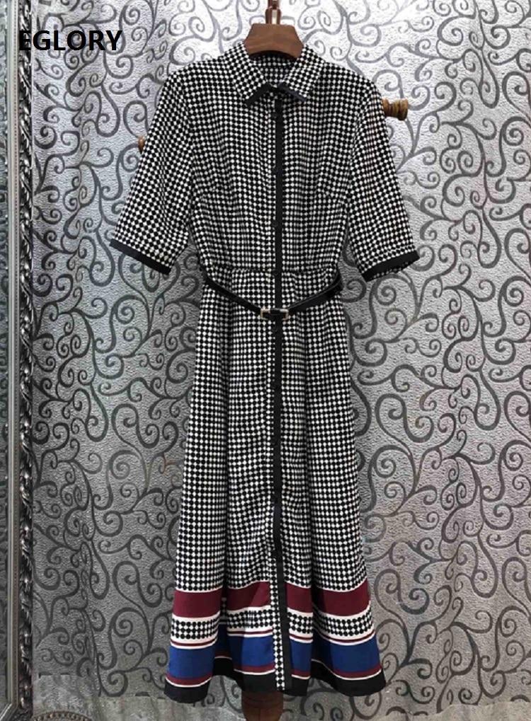 Newest Fashion Spring Dress  Style Women Turn-down Collar Polka Dot Print Striped Color Block Half Sleeve Mid-Calf Dress 1