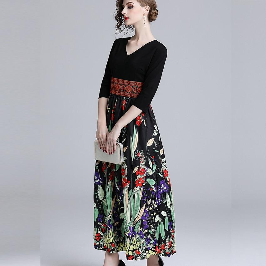 Summer Casual Half Sleeve Slim A-line Dress 19 Vintage Patchwork print Maxi Dresses Boho V Neck long Dress vestidos de fiesta 3