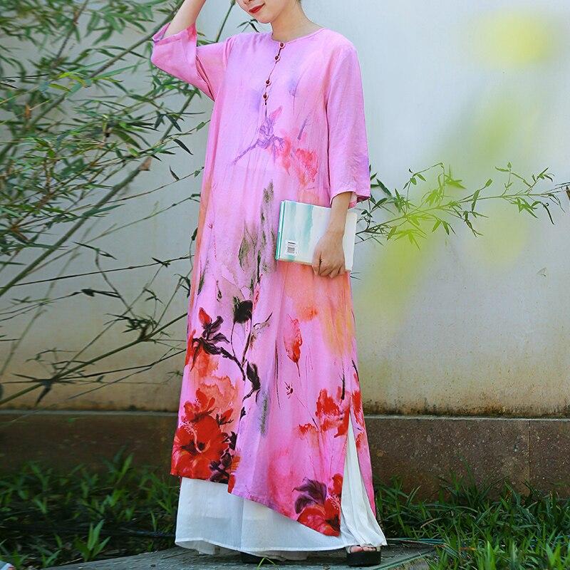 Hisenky 19 Summer Women Dress Chinese Style Cotton Linen Loose Dress Half Sleeves Flower Printed Vintage Long Dress Vestidos 3