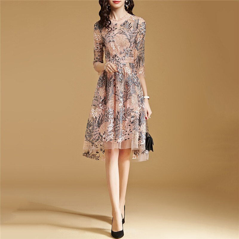 Lace Dress Pink S-2XL 19 New Spring Korean High Waist Slim A Line Dress Embroidery Mesh Half Sleeve Party Dress Vestidos CX816
