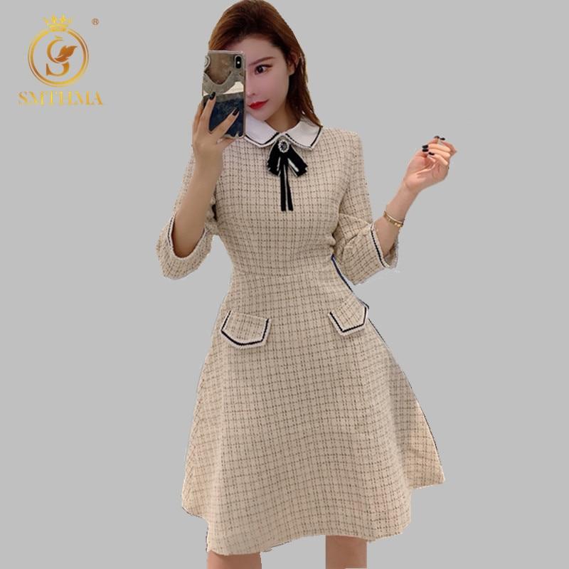 SMTHMA  New Spring High Quality Women Plaid Tweed Party Dress Women Turn Down Collar Half Sleeve Dress Vestidos 1
