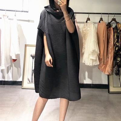 FREE SHIPPING Miyake fold half sleeve dress slash neck solid batwing sleeve loose dress IN STOCK 3