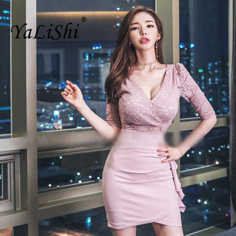 Plus Size Asymmetrical Dress 18 Autumn Women Pink Half Sleeve Lace V-neck Ruffles Sexy Club Short Dress Boho Dresses Vestidos 1