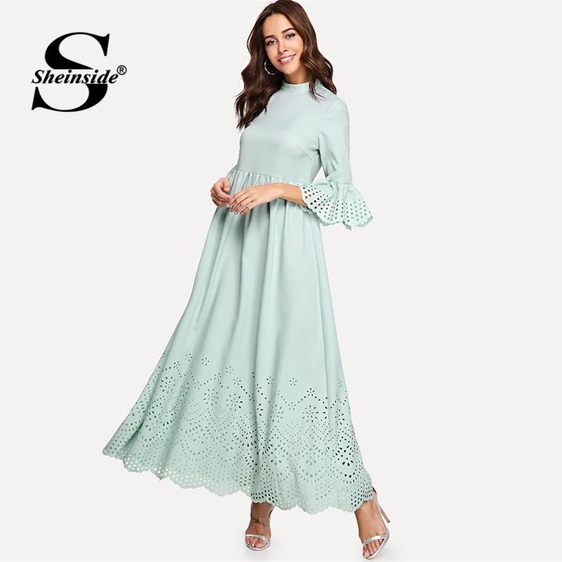 Sheinside Scalloped Hollow Out Half Sleeve Dress 19 Summer Elegant Flounce Sleeve Solid Maxi Dresses High Waist A Line Dress 2