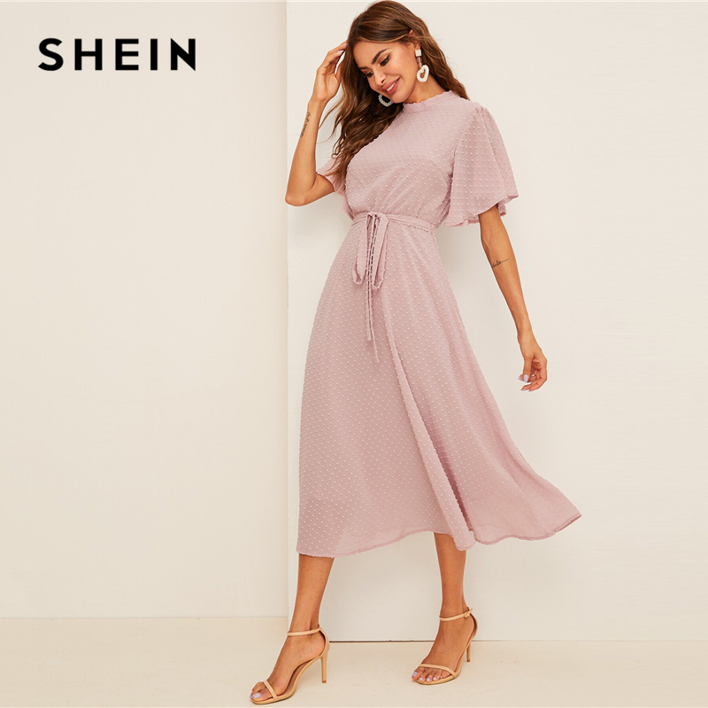 SHEIN Flutter Sleeve Swiss Dot Belted Dress Elegant Pink Pastel Solid Women Dresses Stand Collar A Line Half Sleeve Dresses 2