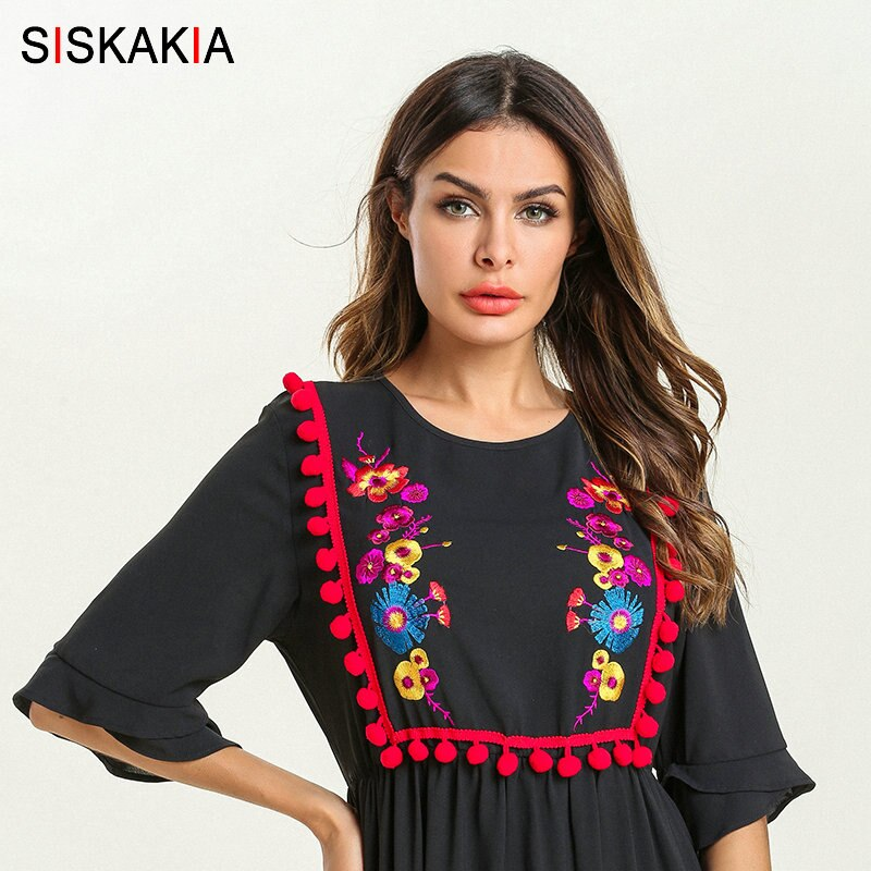 Siskakia Summer 19 Ethnic Women Long Dress Pompom Tassel Floral Embroidery Patchwork Design Maxi Dresses Swing Elegant Black 3