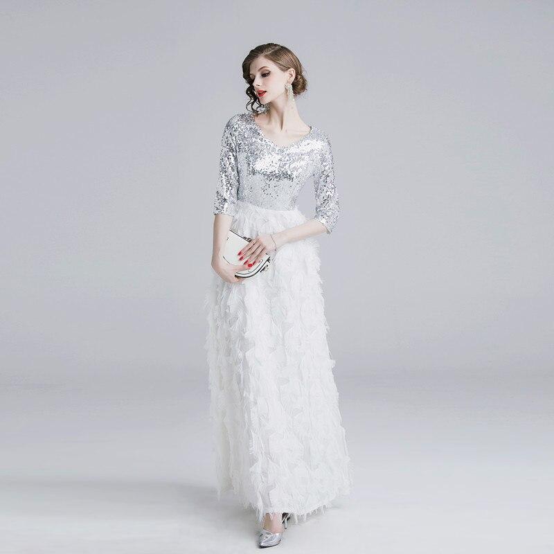 Summer Half Sleeve V-neck Patchwork Tassels Feather Long Dress Elegant Sliver Sequin Women Evening Party Dress Ladies Vestidos 3