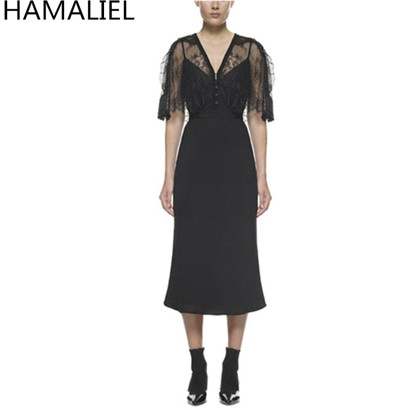 Self Portrait Runway Women Party Dress 18 Autumn Black Lace Patchwork Hollow Out Half Sleeve Bodycon Sexy V Neck Ladies Dress 1