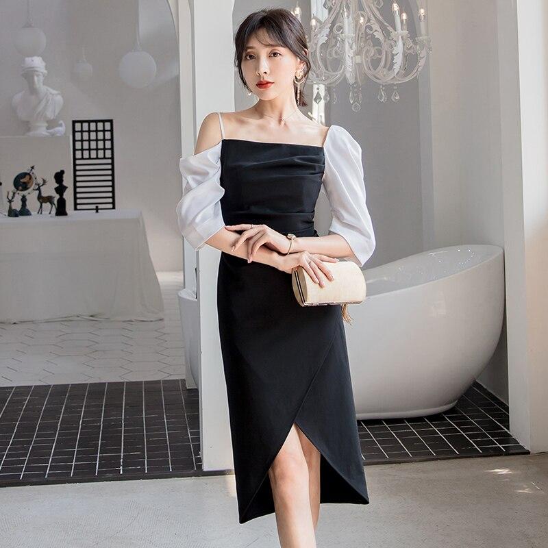 YIGELILA Women Retro Black Party Dress Summer Elegant Half Sleeve Straight Slim Mid-calf Dress 64970