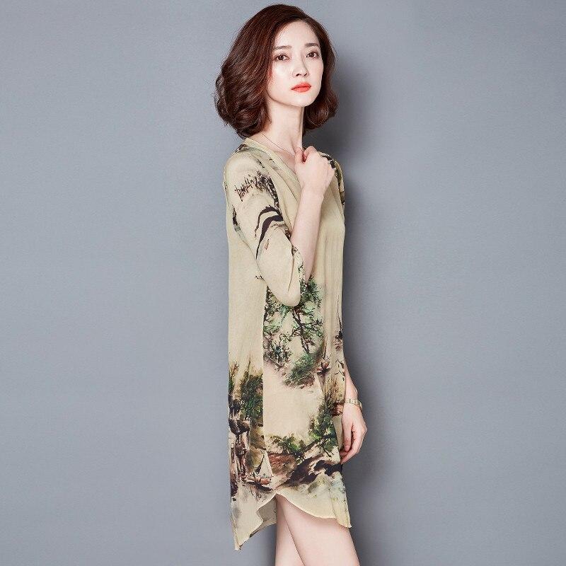 19 V-neck Vintage Silk Dress Half Sleeve Printing Floral Dress Women Summer Dresses Casual Plus size 4XL Vestidos Mujer FYY344 2