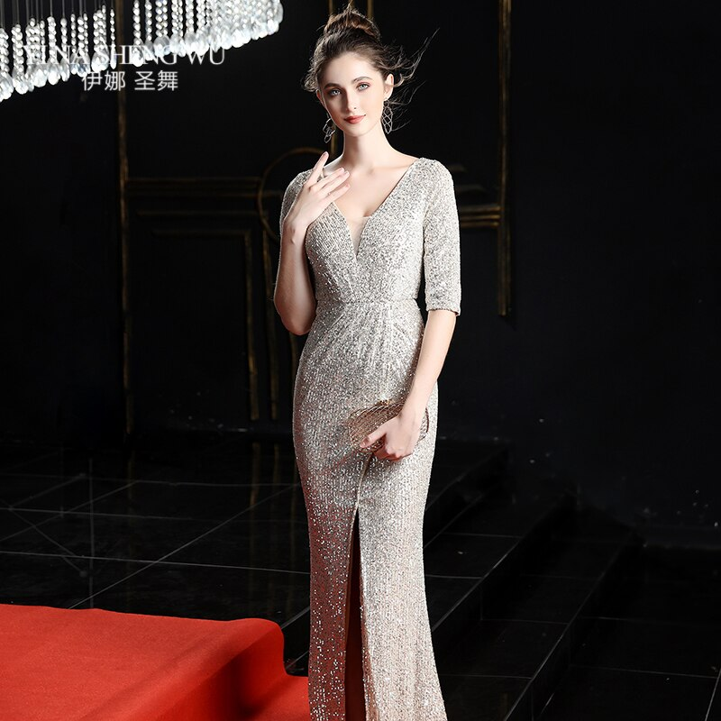 Evening Long Dress Sequins Shining V-neck Half Sleeve Formal Dress Women Floor-length Long Party Gowns Robe De Soiree New 3