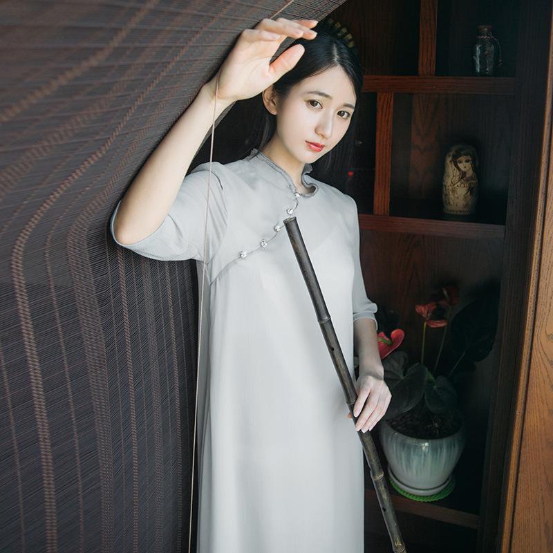 Summer New Tea Art Tea Service Retro Chinese Elements Half Sleeves Meditation Dress Chinese Dress Female 1