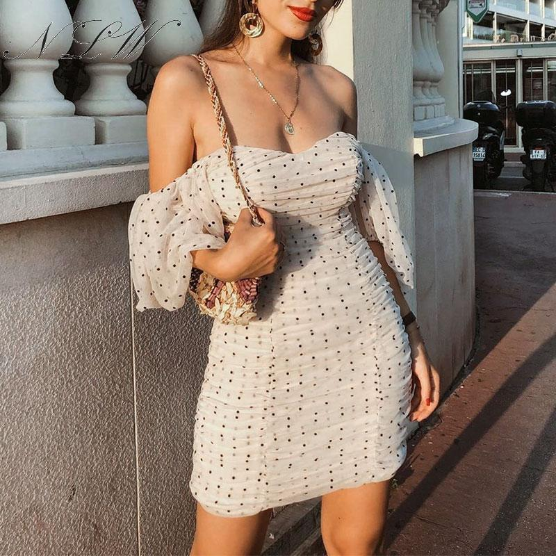 NLW Polka Dot Elegant Dress Sexy Off Shoulder Party Short Dress Ruffle Mesh Elastic Mini Dress Vintage Slim Half Sleeve Dress 2