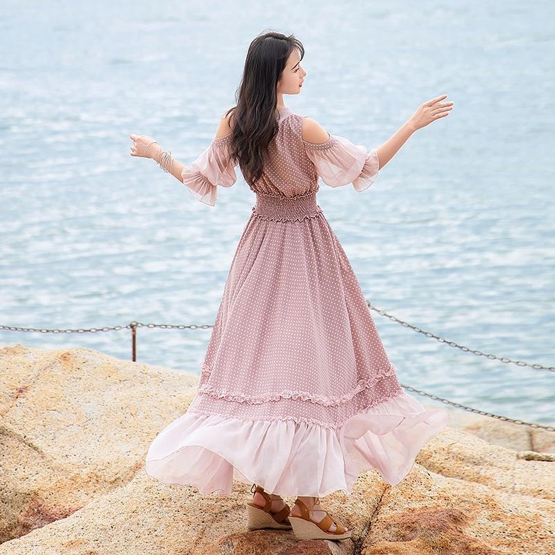 Free Shipping 19 Fashion Women Chiffon Long Maxi Ruffles Half Sleeve Dresses Summer Boshow Bohemian Dot Bandage Bow Dress S-L 3