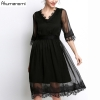 Summer Chiffon Dress Women Clothing Eyelash Lace V-neck Half Sleeve Wave Hem Dress High Quality Plus Size 5XL 4XL 3XL 2XL XL L M