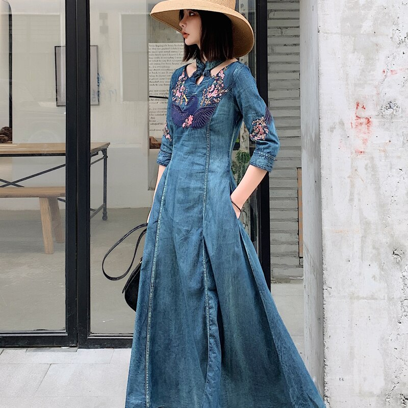 New Spring autumn Women half Sleeve Slim Denim Dress Summer Casual Female Vintage embroidery Dress Ladies Long Dresses 2