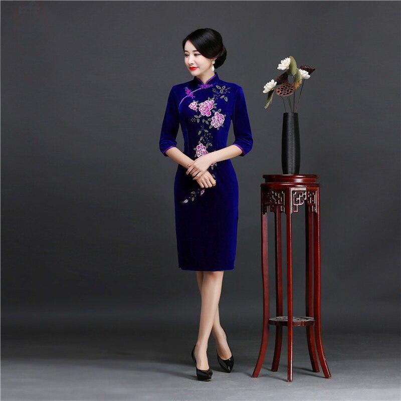 Brand New Designer Women's Velour Qipao Plus Size 4XL Handmade Sequined Beads Chinese Dress Half Sleeve Short Cheongsam Dress 1