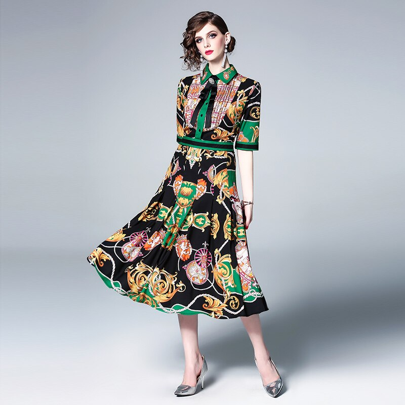 New 19 Runway Print Flowers Party Dress Summer Women Diamonds Bow Half Sleeve Vintage Dress Elegant Turn Down Collar Dress 3