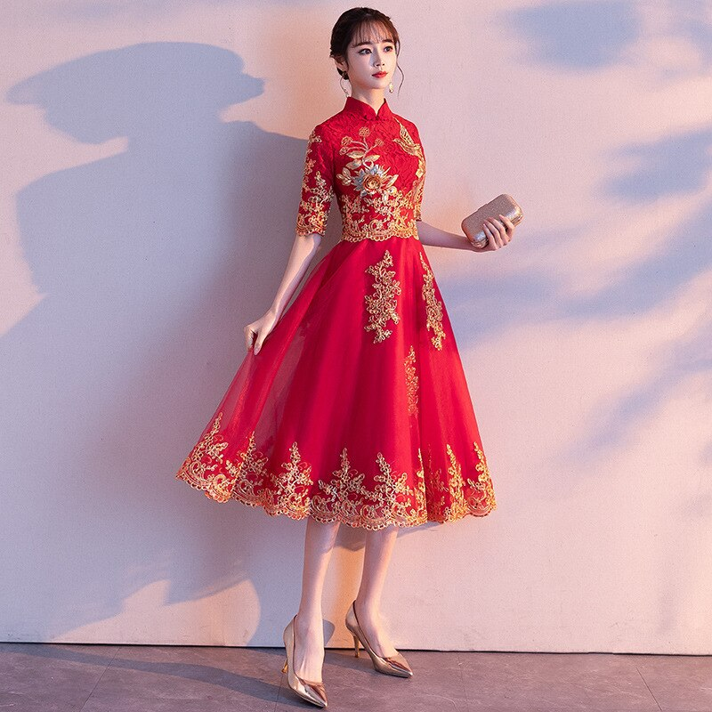 Red Womens Halter Half Sleeve Party Dress Chinese Style Lace Cheongsam Wedding Elegant Prom Maxi Qipao Long Gown Vestido XS-XXL 3