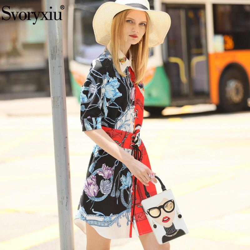 Svoryxiu Fashion Designer Summer Girdle Dress Women's Elegant Beading Half Sleeve Color Matching Printed Dress Vestdios 3