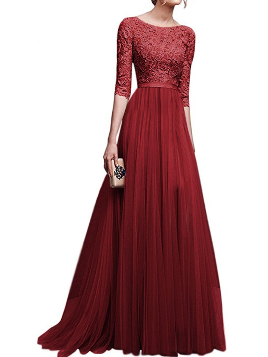 19 Autumn New Elegant Half Sleeve Chiffon Lace Stitching Women Party Prom Evening Much Color Long maxi Dress Female Clothing 2