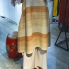 Stripe dress irregular fold dress with half sleeves FREE SHIPPING Miyake pressure plait gradients show thin Stripe dress irregular fold dress with half sleeves dress IN STOCK