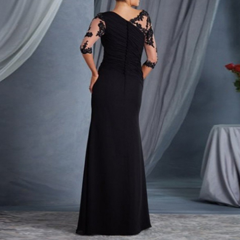 Women fashion Dress Lace Half Sleeves Round Neck Slim Fit Female Formal Gown H9 3