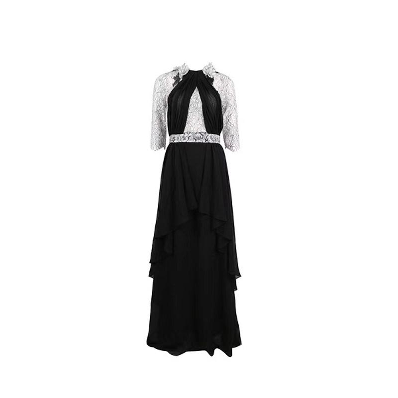 Elegant New Design Patchwork Half Sleeve Chiffon Maxi Dress Women Celebrity Party Dress Vestidos Wholesale 19 2