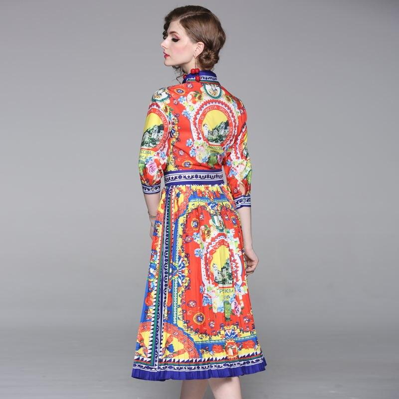 half regular sleeve pleated bohemian turn-down collar summer vintage elegant casual party dress 3