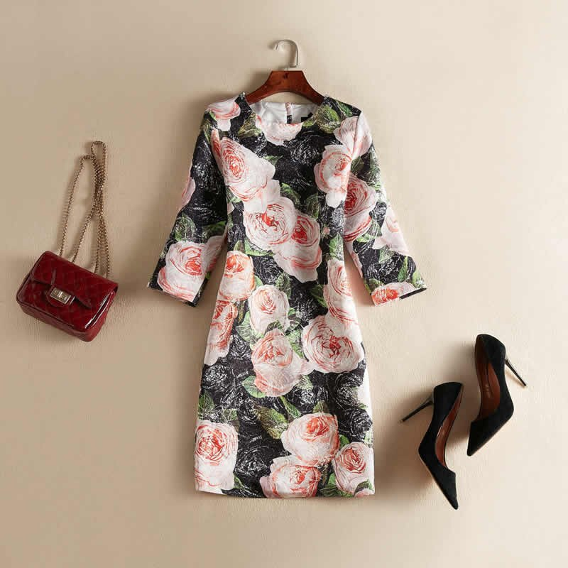 Vintage Black Flower Jacquard Dress Fashion O-Neck Half Sleeve Casual Dresses J0622 1