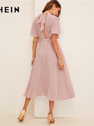 SHEIN Flutter Sleeve Swiss Dot Belted Dress Elegant Pink Pastel Solid Women Dresses Stand Collar A Line Half Sleeve Dresses