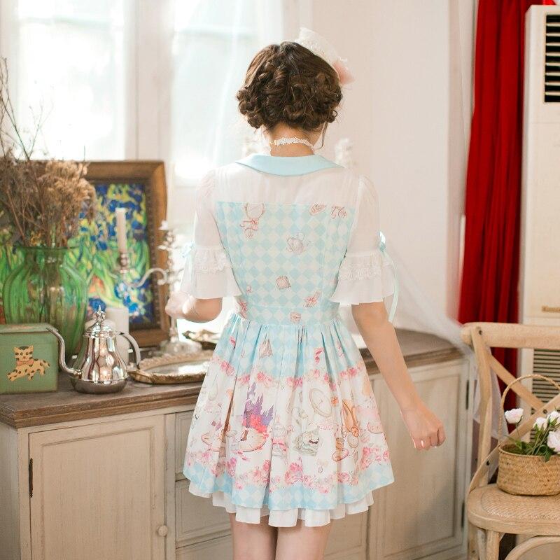 Princess sweet lolita Candy Rain dress Printing chiffon dress, Sweet Navy style Princess A-Line Half sleeved dress C22AB7159 3
