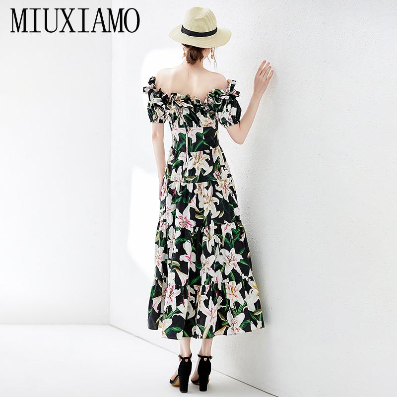 MIUXIMAO Top Quality 19 Fall Dress Lily Flower Ptint Half Sleeve Dress Ruffles Eleghant Cotton Casual Dress Women Vestidos 2