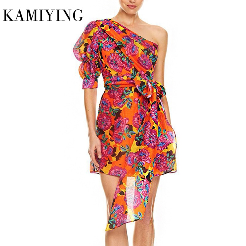 KAMIYING Sexy Print Puff Sleeve Dresses For Female Asymmetrical Collar Half Sleeve High Waist Lace Up mini Dress Women 1