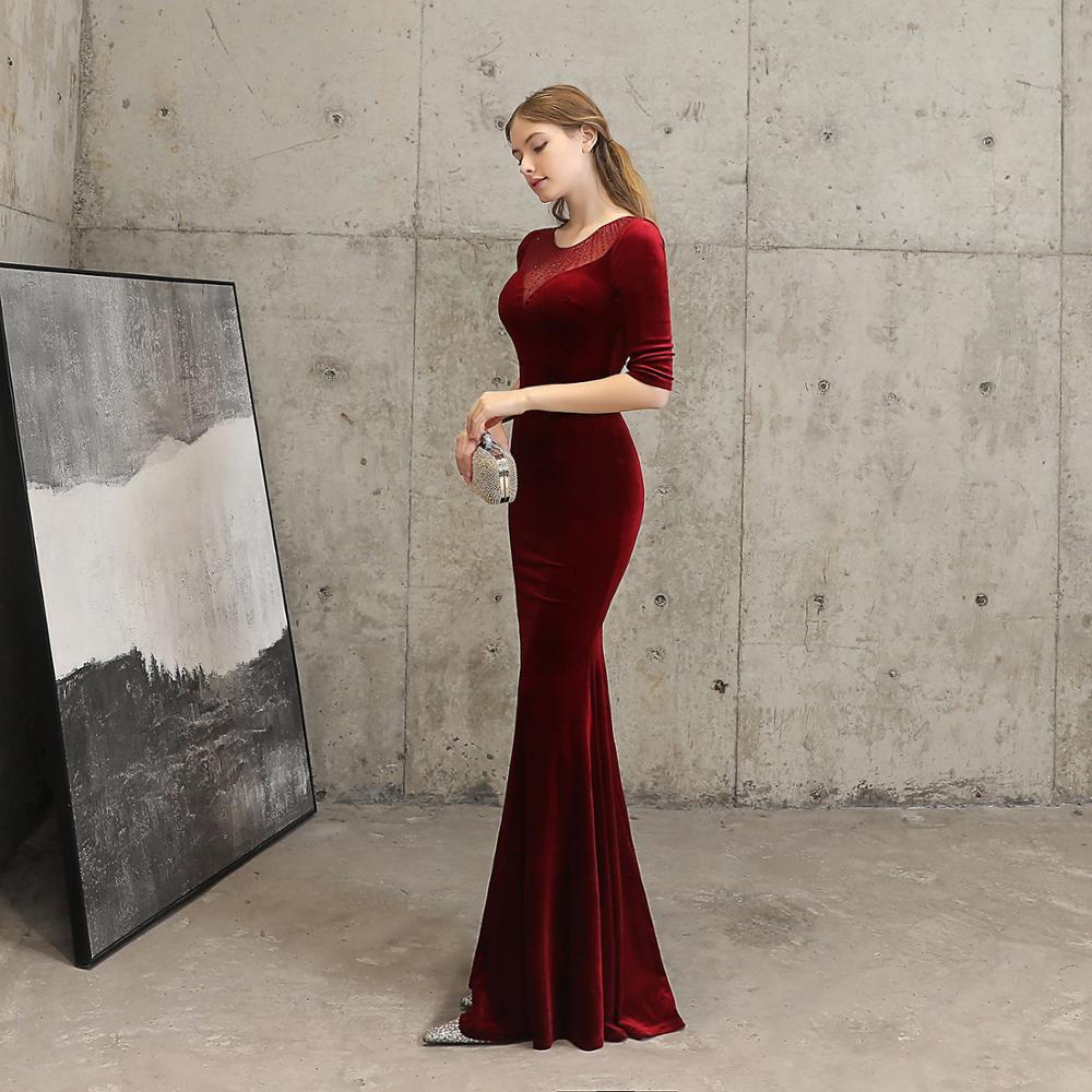 Vintage Red Flannel & Diamond Transparent Mesh O Neck Half Sleeve Dress Sexy Women Mermaid Night Club Party Long Dresses Elegant 3