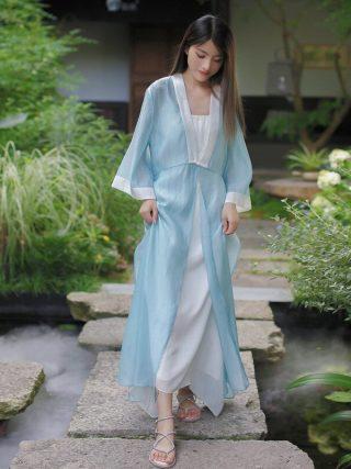 19 Autumn Chinese Retro Style Big V Collar Women White Blue Straight Dress Tea Suit Half Flare Sleeve Loose Dress Hanfu