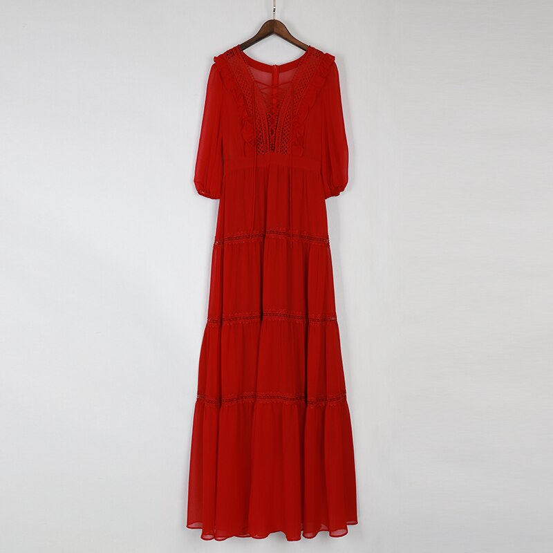 SEQINYY Chiffon Long Dress 19 Summer Spring New Fashion Design Half Sleeve Bow Lace Ruffles Elegant Maxi Dress Women 3