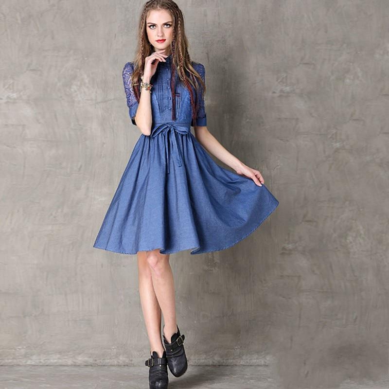 Vintage Hollow Out Embroidery Women Fashion High Street Half Sleeve Dress Jean Denim Female Lapel Single Breasted Slim Vestidos 3