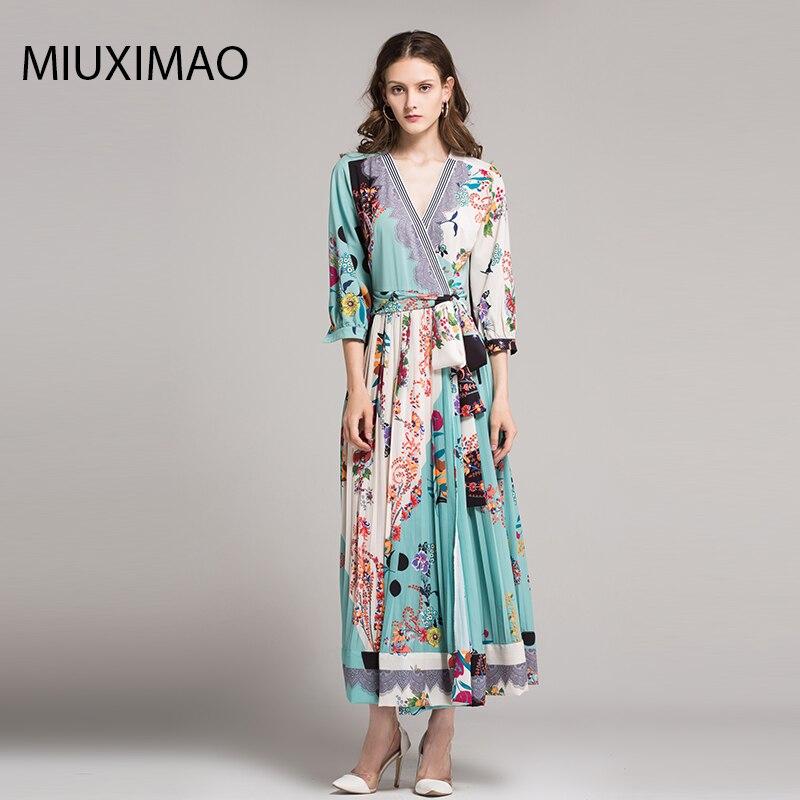 18 High Quality Spring&Fall Dress Newest Cute Style V-Neck Half Sleeve Flower Print Elegant Dress Women 1