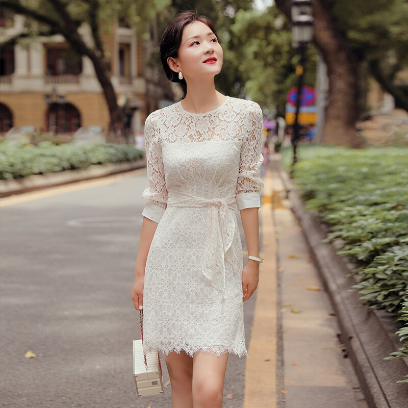 19 New Women Lace Hollow Out Mini Dress Half Sleeve O Neck Sweet Apricot Sweet Dress