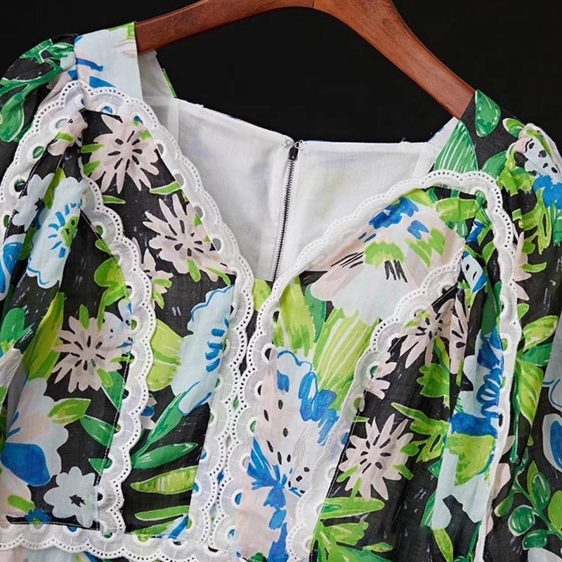 TWOTWINSTYLE Patchwork Lace Print Dresses For Female V Neck Lantern Half Sleeve High Waist Ruffle Dress Women Fashion  Tide 3