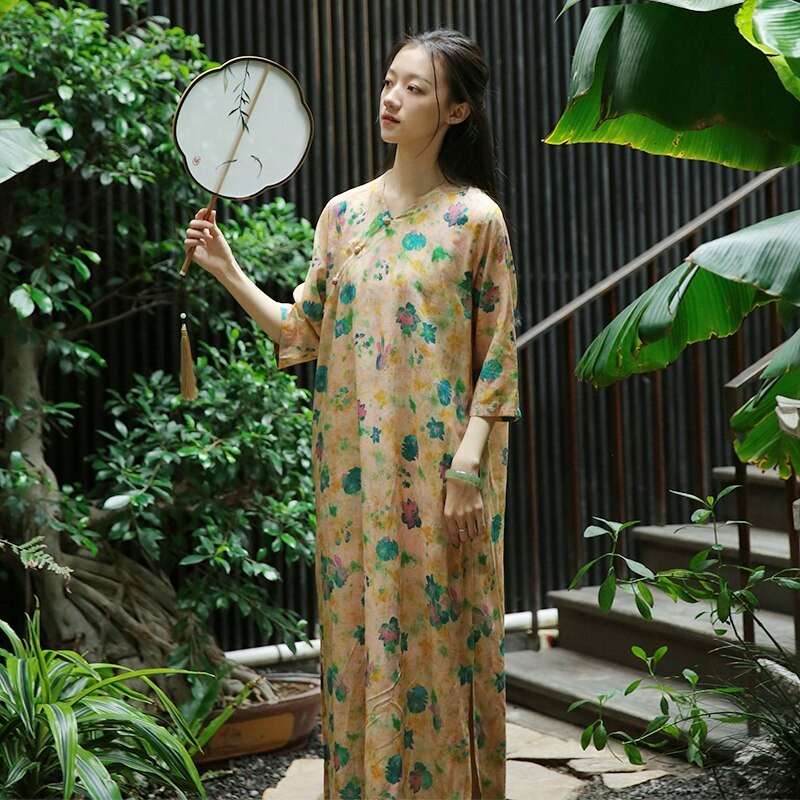 Retro Frog Buttons Long Side Opening Half Sleeve Yellow Floral Dress, Traditional Chinese Cheongsam Style Loose Straight Robes 1